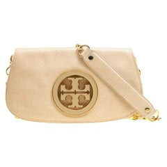 Tory Burch Beige Crackled Glace Leather Amanda Clutch