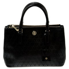 Tory Burch Black Floral Laser Cut Leather Double Zip Robinson Tote
