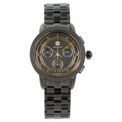 Tory Burch Black Ion-Plated Steel Gold Accents Dial Ladies Quartz Watch TRB1025