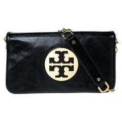 Tory Burch Black Leather Reva Logo Shoulder Bag