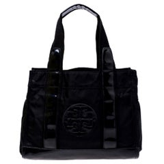 Tory Burch Black Nylon and Leather Ella Tote