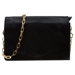 Tory Burch Black Perforated Logo Leather Fold Over Crossbody Bag