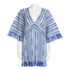 Tory Burch Blue and White Textured Linen and Cotton Fringed Gwen Tunic XL