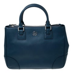 Tory Burch Blue Leather Large Double Zip Robinson Tote