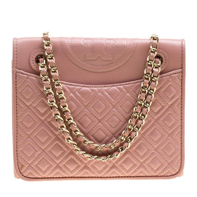 45c9b95f7ce Tory Burch Blush Pink Leather Medium Fleming Shoulder Bag at 1stdibs