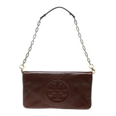 Tory Burch Brown Leather Bombe Reva Shoulder Bag