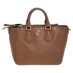 Tory Burch Brown Leather Double Zip Tote