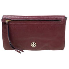 Tory Burch Burgundy Leather Flap Pocket Crossbody Bag