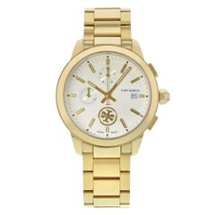 Tory Burch Collins Chrono Gold Tone Steel Cream Dial Ladies Quartz Watch TB1250