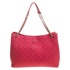 Tory Burch Coral Pink Quilted Leather Marion Chain Tote