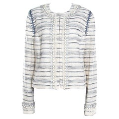 Tory Burch Cream Textured Jewel Embellished Nicole Boucle Jacket L