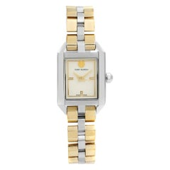 Tory Burch Dalloway Two-Tone Steel Cream Dial Rectangle Face Quartz Watch TB1102