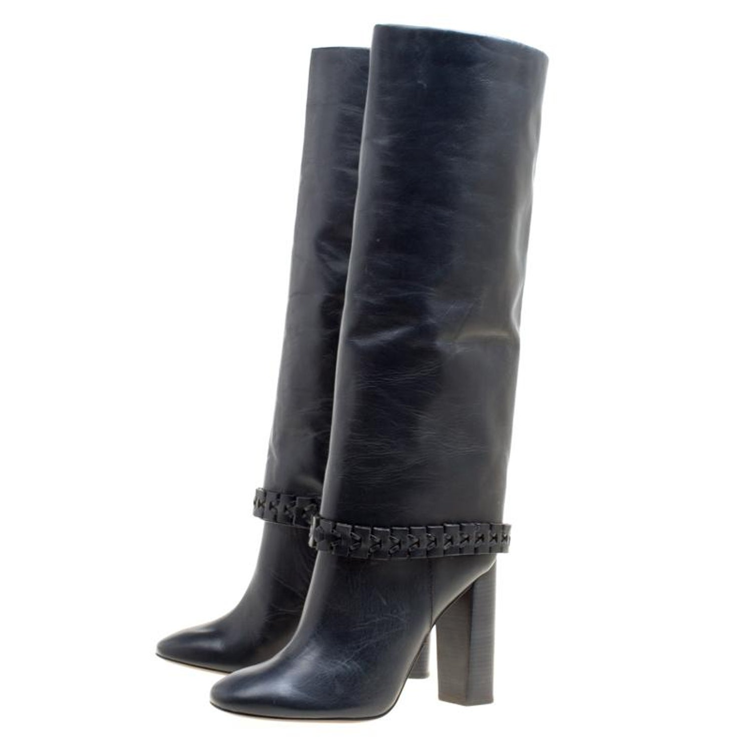 36f7d2822c6e Tory Burch Dark Blue Leather Sarava Braid Detail Knee Boots Size 40 For  Sale at 1stdibs