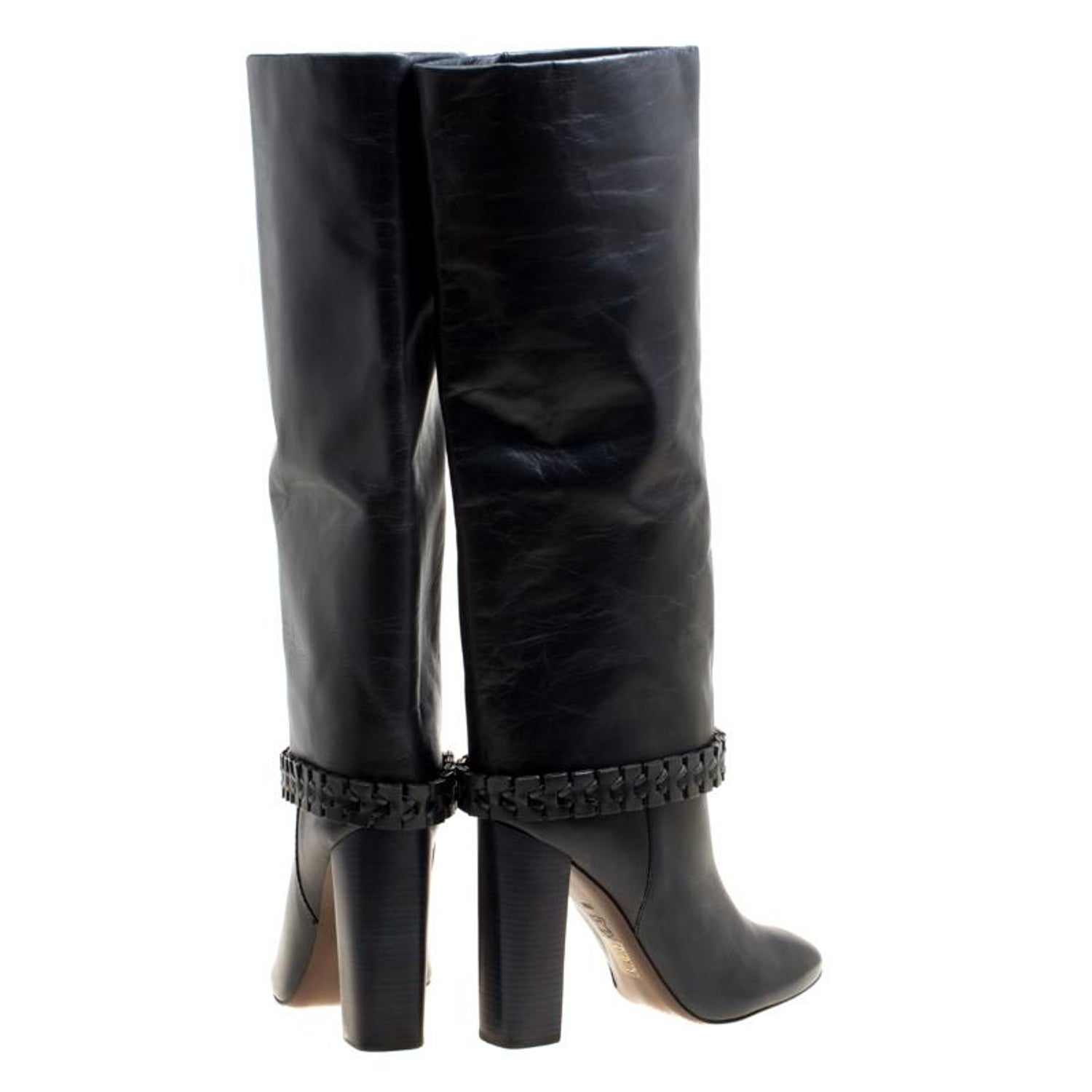 dd2e8084c494 Tory Burch Dark Blue Leather Sarava Braid Detail Knee Boots Size 40 For Sale  at 1stdibs