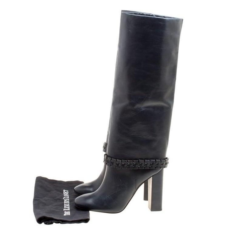b9b7b017d30b Tory Burch Dark Blue Leather Sarava Braid Detail Knee Boots Size 40 For Sale  3