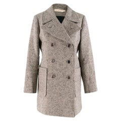 Tory Burch double breasted tweed grey coat SIZE S