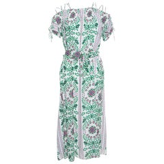 Tory Burch Floral Garden Party Printed Silk Belted Asilomar Midi Dress S