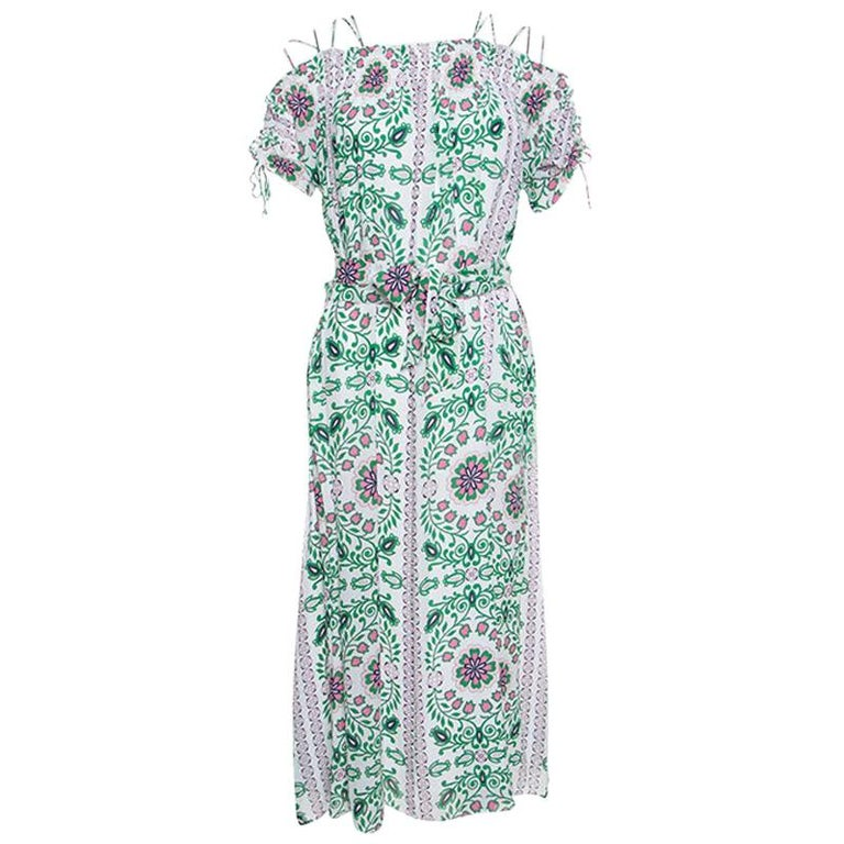 e58e13a28a54 Tory Burch Floral Garden Party Printed Silk Belted Asilomar Midi Dress S  For Sale