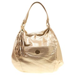 Tory Burch Gold Leather Oversized Dean Hobo