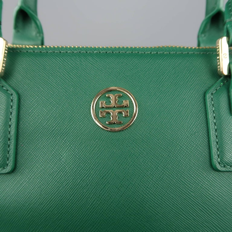46c3a3ed849 TORY BURCH Green Leather ROBINSON Tote Handbag In Good Condition For Sale  In San Francisco