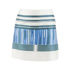 Tory Burch Indigo Plaited Stripe Cotton Silk Mikado Mini Skirt S