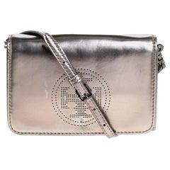 Tory Burch Metallic Grey Patent Leather Flap Crossbody Bag