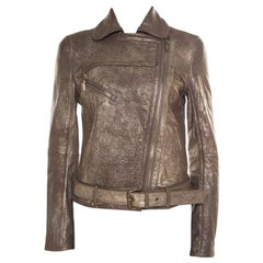 Tory Burch Metallic Washed Leather Biker Jacket S