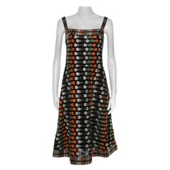 Tory Burch Multicolor Floral Embroidered Mesh A Line Dress M