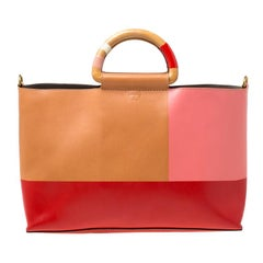 Tory Burch Multicolor Leather Bamboo Handle Tote