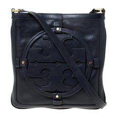 Tory Burch Navy Blue Leather Holly Crossbody Bag