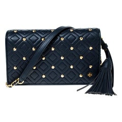 Tory Burch Navy Blue Quilted Leather Fleming Stud Crossbody Bag