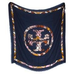 Tory Burch Navy Wool Logo Shawl