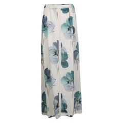 Tory Burch Off White Blooming Iris Printed Silk Kendra Maxi Skirt M