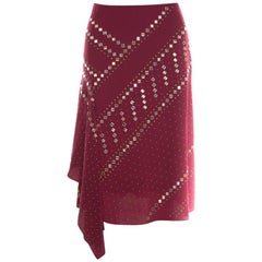 Tory Burch Red Agate Embellished Silk Draped Skirt S