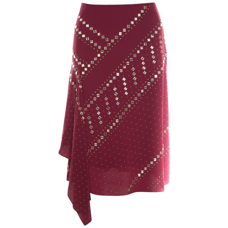 e0296649b07 Tory Burch Red Agate Embellished Silk Draped Skirt S For Sale at 1stdibs