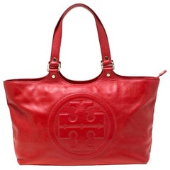 Tory Burch Red Leather Bombe Tote