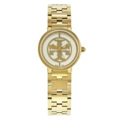 Tory Burch Reva White Dial Gold Tone Stainless Steel Quartz Ladies Watch TRB4011