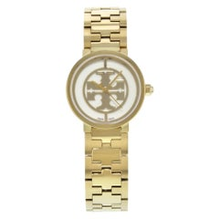 Tory Burch Reva White Dial Gold Toned Steel Quartz Ladies Watch TRB4011