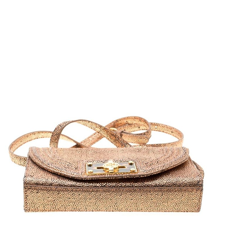 Women's Tory Burch Rose Gold Textured Leather Clutch For Sale