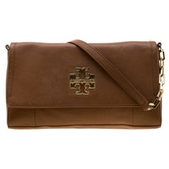 Tory Burch Tan Britten Leather Fold Over Crossbody Bag
