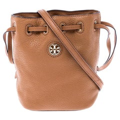 Tory Burch Tan Leather Drawstring Crossbody Bag