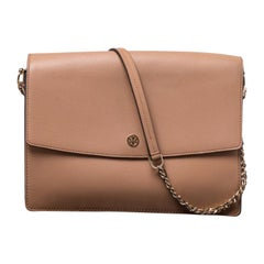 Tory Burch Tan Leather Flap Shoulder Bag