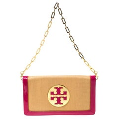 Tory Burch Tan/Pink Raffia and Leather Reva Foldover Clutch