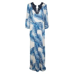 Tory Burch White and Blue Feather Print Sequin Embellished Silk Maxi Dress L