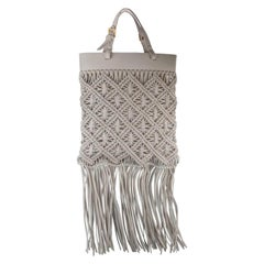 Tory Burch White Leather Macrame Fringe Crossbody Bag
