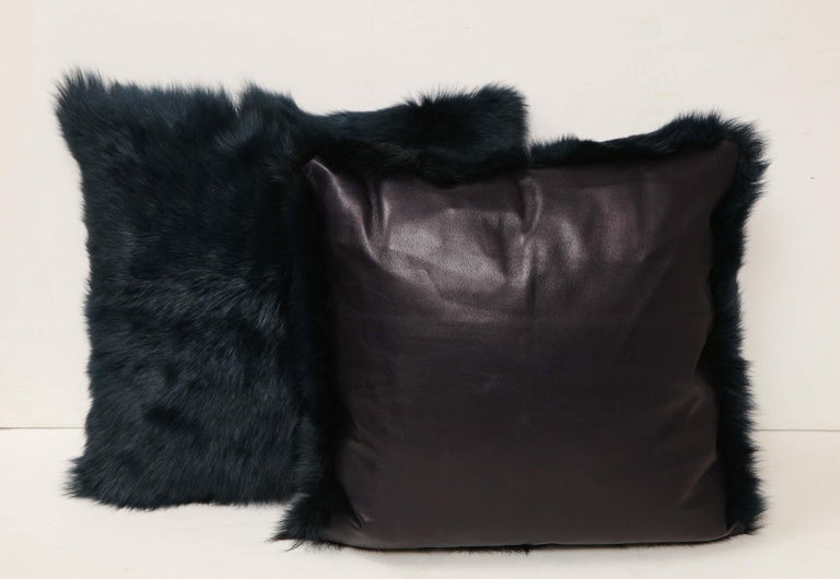 American Toscana Long Hair Shearing Pillow in Deep Forest Color For Sale
