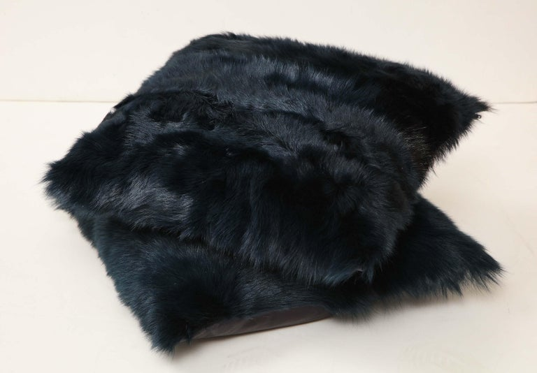 Toscana Long Hair Shearing Pillow in Deep Forest Color In New Condition For Sale In New York, NY