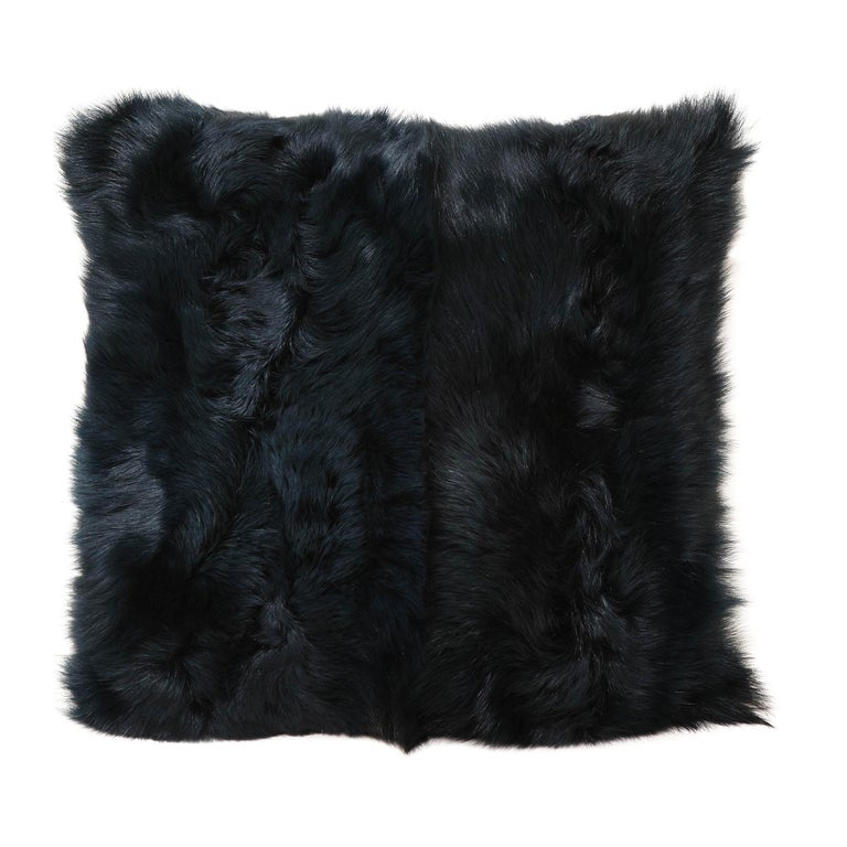 Toscana Long Hair Shearing Pillow in Deep Forest Color For Sale