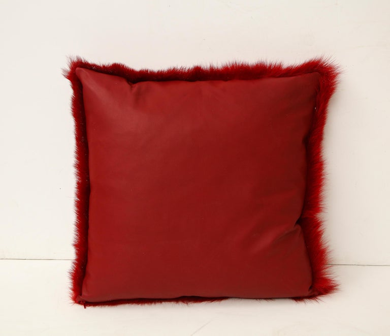 Modern Toscana Long Hair Shearing Pillow in Red Color For Sale