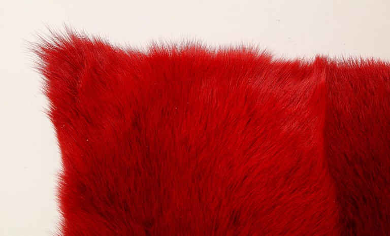 Toscana Long Hair Shearing Pillow in Red Color In New Condition For Sale In New York, NY